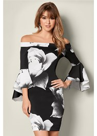 Front view Sleeve Detail Floral Dress