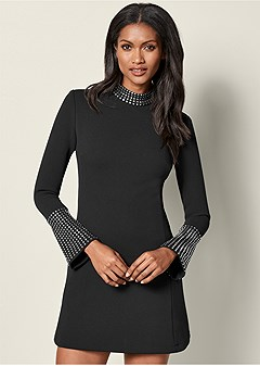 stud detail mini dress