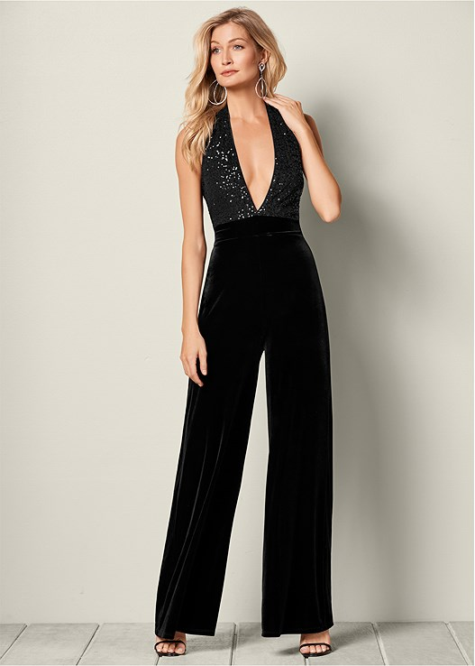 Sequin Detail Jumpsuit In Black Venus