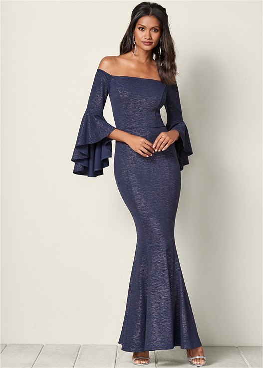OFF THE SHOULDER LONG DRESS,HIGH HEEL STRAPPY SANDAL,CONFIDENCE HONEYCOMB CORSET