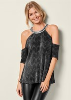 metallic neck trim top
