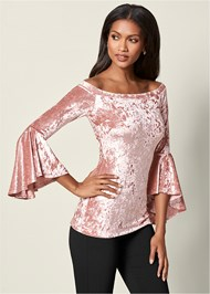 Front View Velvet Trumpet Sleeve Top