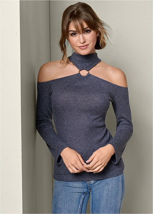 RING DETAIL TURTLENECK,COLOR SKINNY JEANS