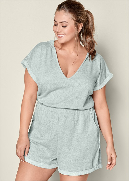 HOODED FRENCH TERRY ROMPER