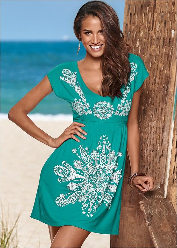 Print Dress,Scoop Front Bikini Bottom,High Waist Moderate Bottom