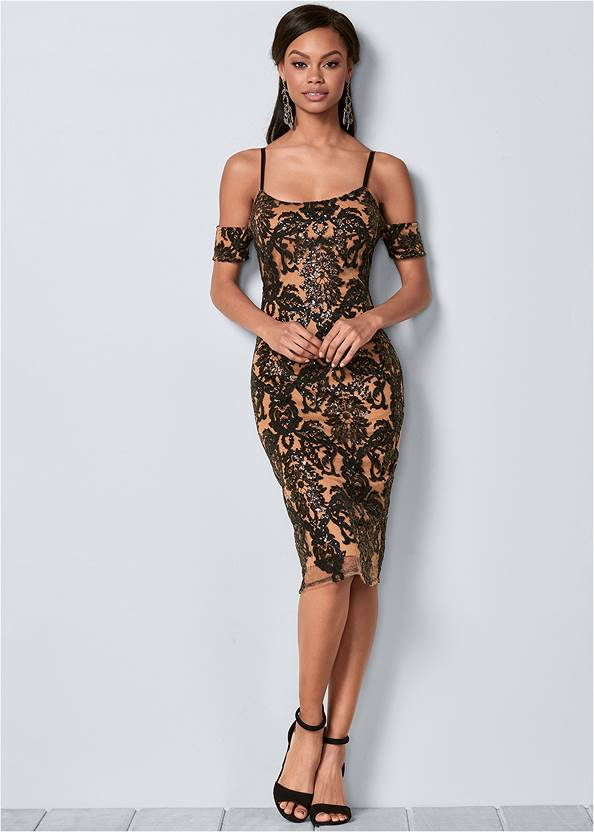 Front View Sequin Cold Shoulder Dress