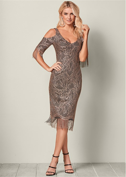 FRINGE DETAIL LACE DRESS,HIGH HEEL STRAPPY SANDALS,PUSH UP BRA BUY 2 FOR $40