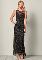 all over beaded long dress