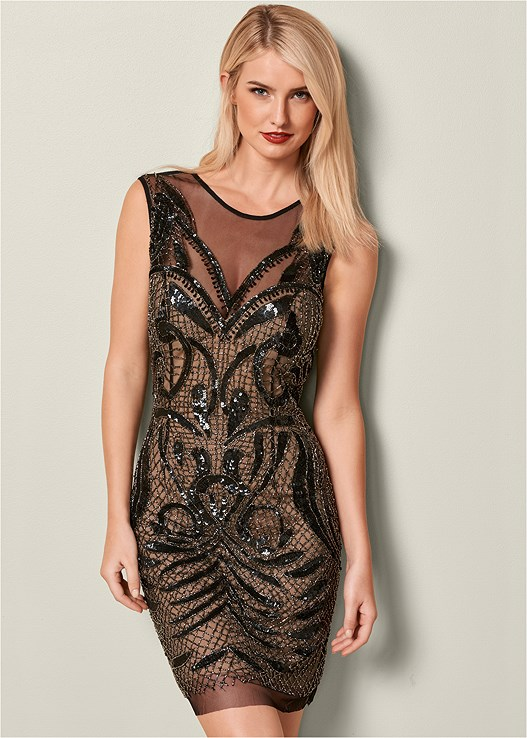 EMBELLISHED BODYCON DRESS,VELVET BUCKLE HEEL