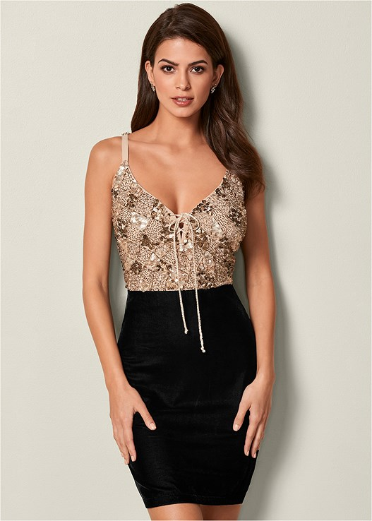 b8462febd91ce SEQUIN VELVET DRESS in Black Multi | VENUS