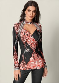 Front View Mock Neck Print Top