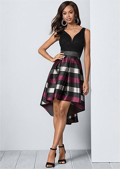 Lace Stripe Cocktail Dress