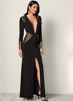 plunging v-neck long dress