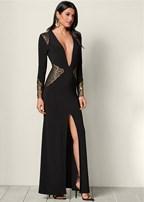 plunging v-neck long dress