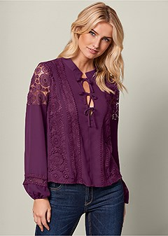 lace inset bow detail top