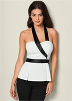 satin halter peplum top