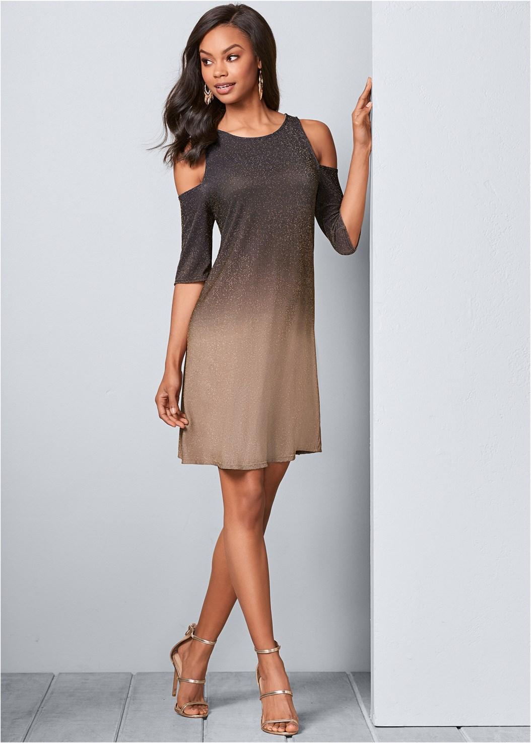Cold Shoulder Glitter Dress,High Heel Strappy Sandals