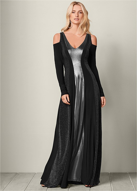 3050188acfa Black   Silver Metallic METALLIC LONG DRESS from VENUS