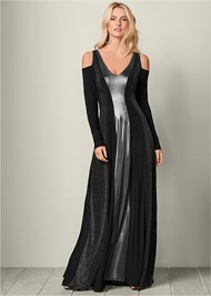 Front View Metallic Long Dress