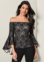 trumpet sleeve lace top
