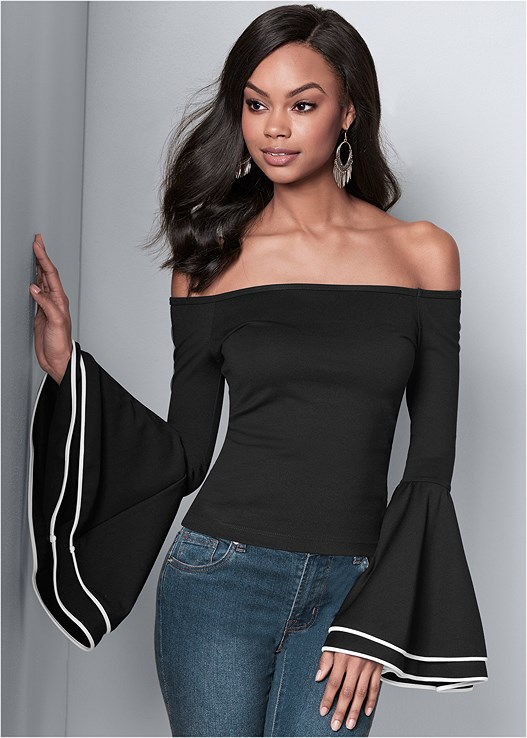 ab8aafe10a140 OFF THE SHOULDER TOP in Black   White