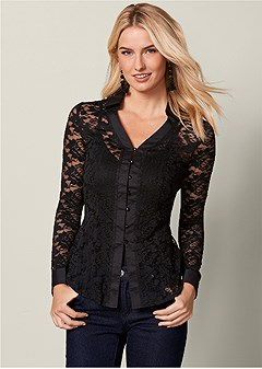 back lace up lace top