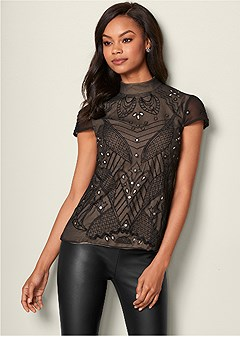 beaded mirror blouse