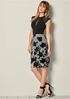 flocked mesh midi skirt