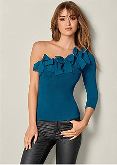 bow detail one shoulder top