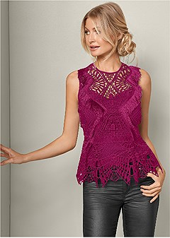 geometric lace fringe top
