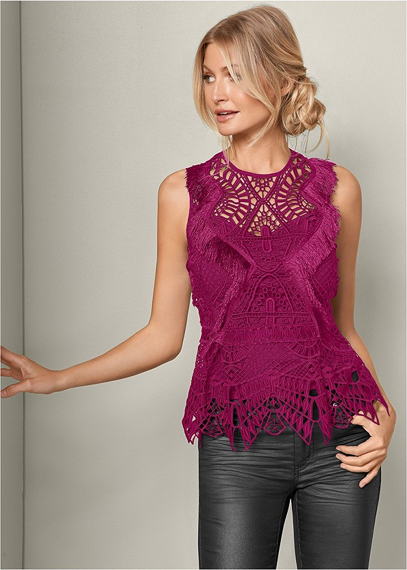 Geometric Lace Fringe Top,Faux Suede Pointy Booties