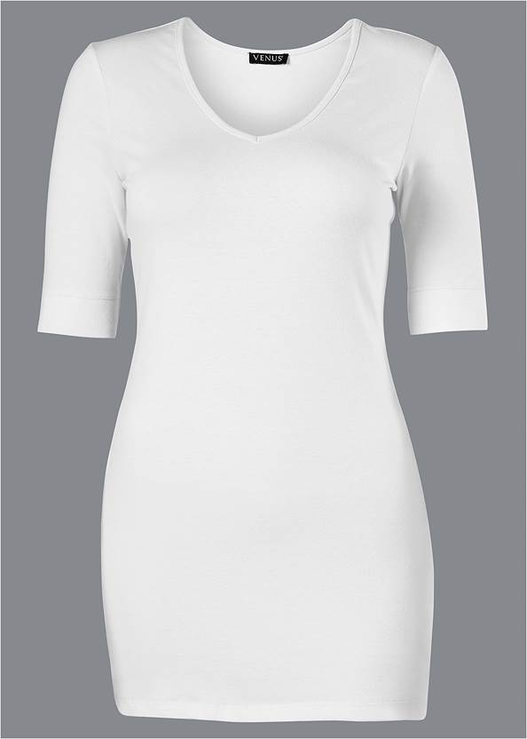 Ghost with background front view Long And Lean V-Neck Tee