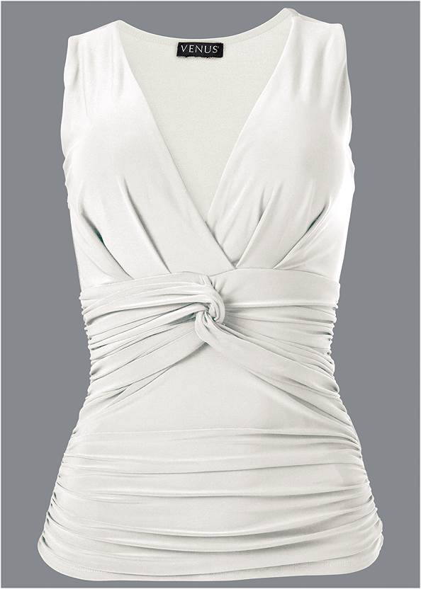 Alternate View Knot Front Sleeveless Top