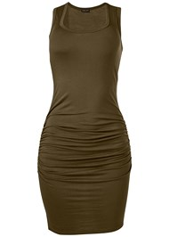 Alternate View Sleeveless Ruched Bodycon Midi Dress