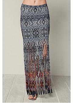 fringe print maxi skirt