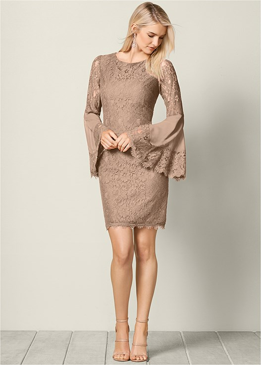 SLEEVE DETAIL LACE DRESS,HIGH HEEL STRAPPY SANDAL