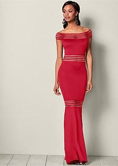 mesh detail long dress