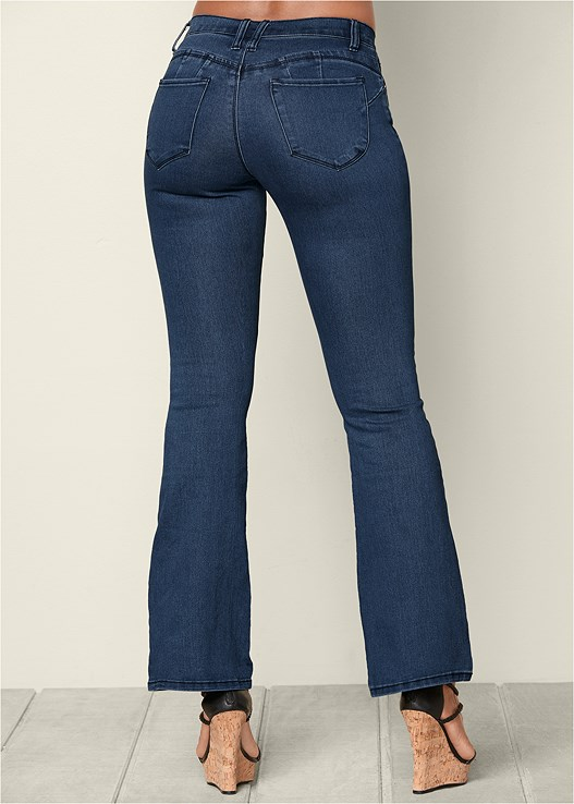 BUM LIFTER BOOT CUT JEANS,BRAIDED DETAIL WEDGE