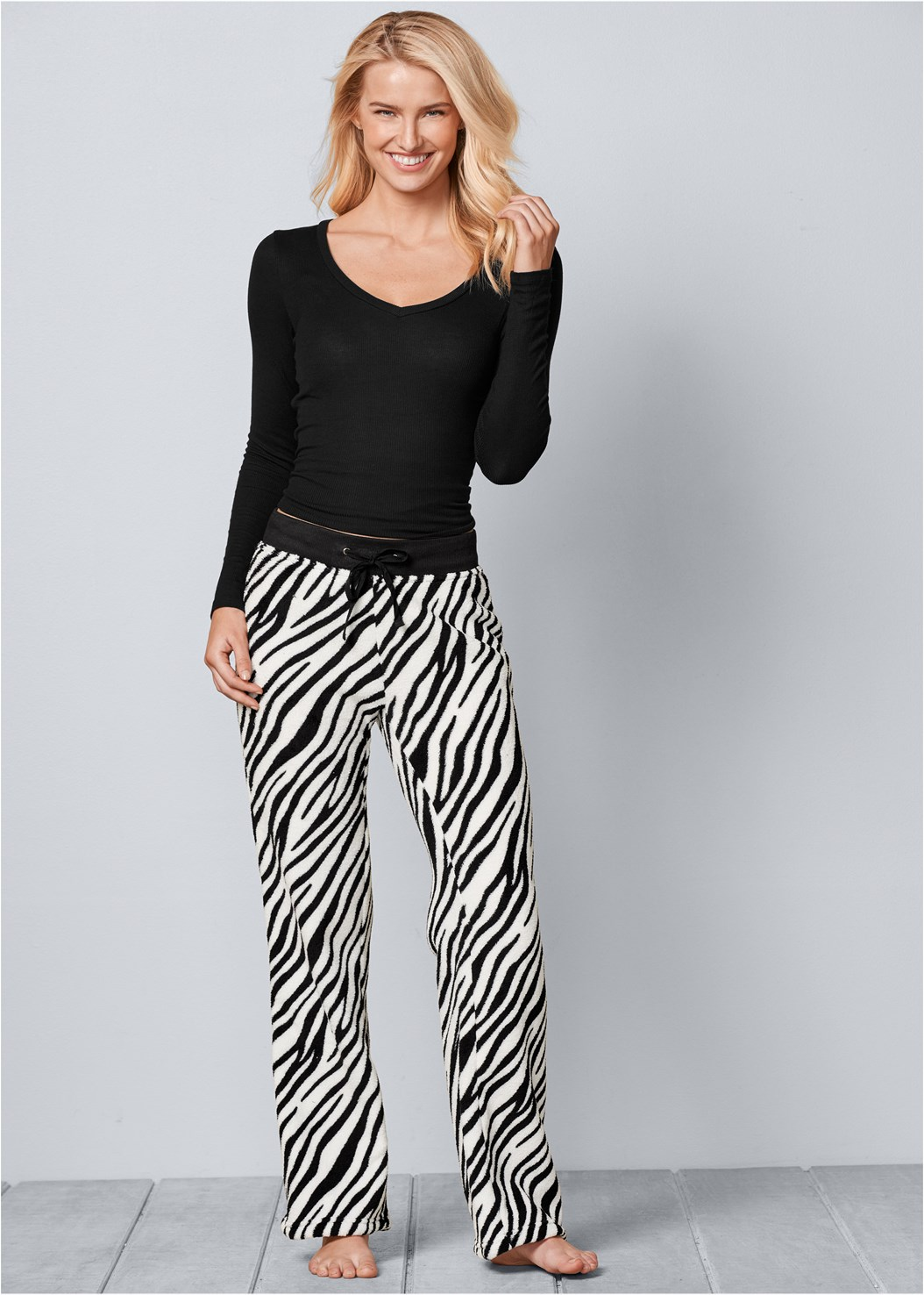Wooby Plush Pants,Ribbed V-Neck Top