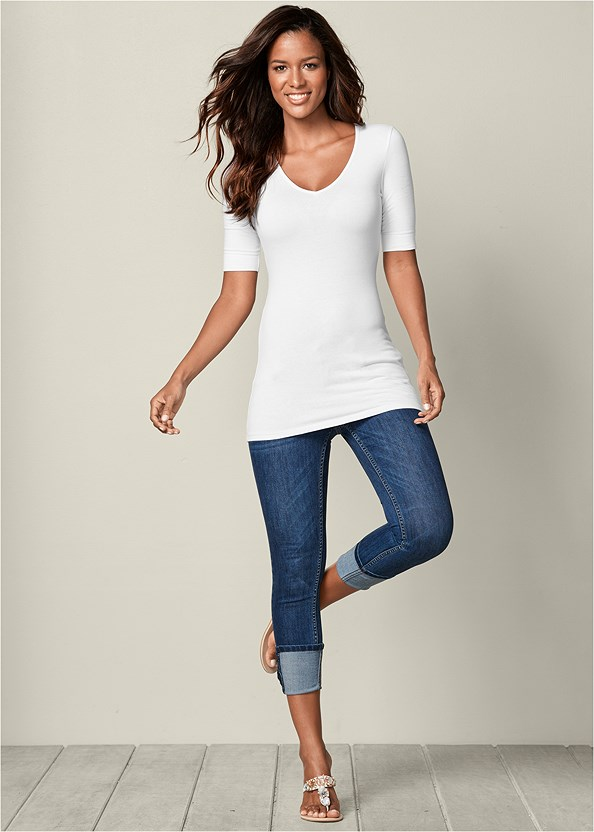 Deep Cuff Jeans,Long And Lean Half Sleeve V-Neck Tee,High Heel Strappy Sandals,Over The Knee Mini Tie Boot