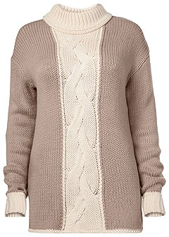 plus size cable knit detail sweater