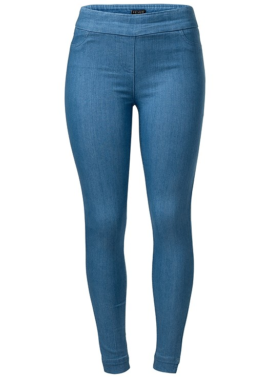 SLIMMING STRETCH JEGGINGS,STRAPPY DETAIL TOP,HIGH HEEL STRAPPY SANDALS,HOOP DETAIL EARRINGS