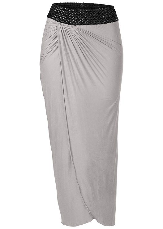 b1fbc8b90 Grey FAUX LEATHER WAISTBAND DETAIL MAXI SKIRT from VENUS