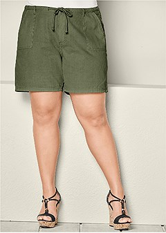 plus size long linen tie shorts