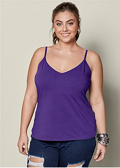plus size basic v-neck tank