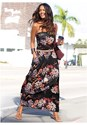 Front view Strapless Floral Maxi Dress