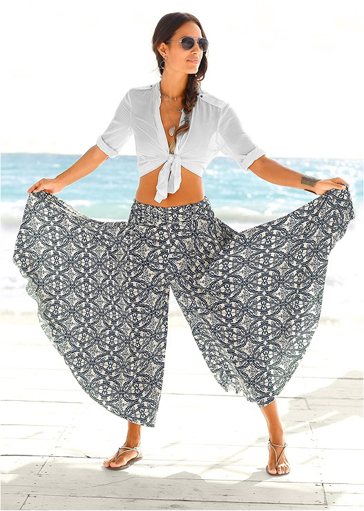 WIDE LEG PANTS,TRIANGLE BIKINI TOP,STRING SIDE BIKINI BOTTOM,ETCHED METAL UPPER ARM BAND