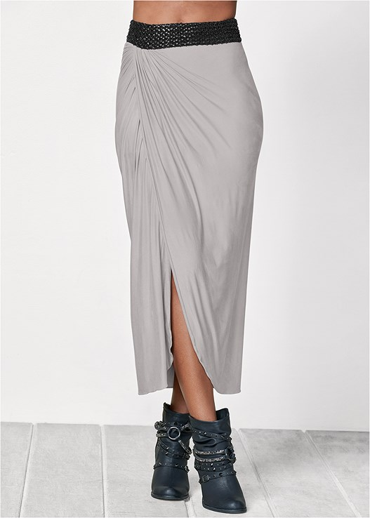 WAISTBAND DETAIL MAXI SKIRT,SEAMLESS CAMI,FAUX LEATHER LACE UP JACKET,EMBELLISHED BUCKLE BOOTIE