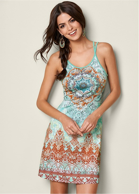 EMBELLISHED PRINT DRESS