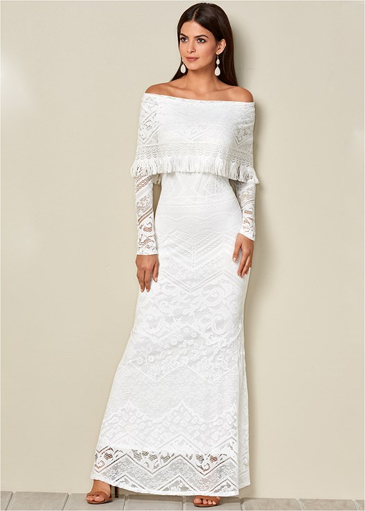 LACE MAXI DRESS,RAFFIA DETAIL HEEL,CONFIDENCE SMOOTH CORSET